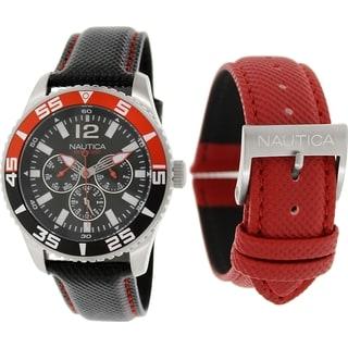 Nautica Men's Nst 07 N13664G Black Leather Quartz Watch with Black Dial