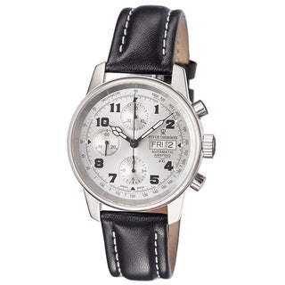 Revue Thommen Men's 16051.6582 'Air Speed' Silvertone Dial Chronograph Black Leather Strap Watch