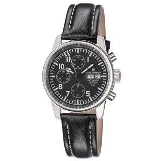 Revue Thommen Men's 16051.6577 'Air Speed' Black Dial Day Date Chronograph Black Leather Strap Watch