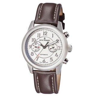 Revue Thommen Men's 16064.6732 'Air Speed' Silver Dial Brown Leather Strap Automatic Watch