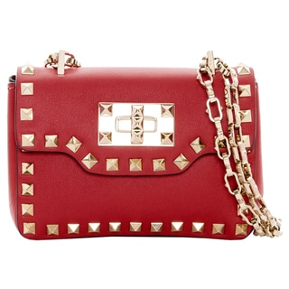 Valentino Red Leather Mini Flap Bag with Chain