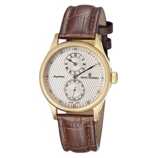 Revue Thommen Men's 16065.2512 'Regulator' Silver Dial Brown Leather Strap Watch