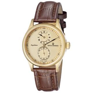 Revue Thommen Men's 16065.2511 'Regulator' Gold Dial Brown Leather Strap Watch