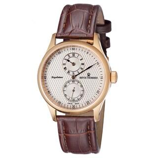 Revue Thommen Men's 16065.2562 'Regulator' Cream Dial Brown Leather Strap Watch