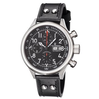 Revue Thommen Men's 17060.6537 'Pilot' Black Dial Black Leather Strap Automatic Watch