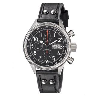 Revue Thommen Men's 17060.6538 'Pilot' Black Dial Black Leather Strap Automatic Watch