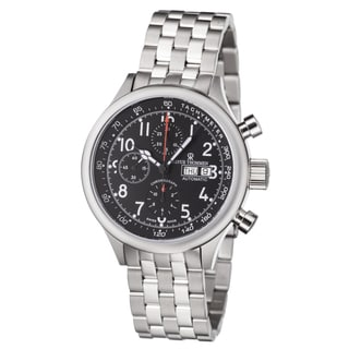 Revue Thommen Men's 17060.6137 'Pilot' Black Dial Stainless Steel Chronograph Automatic Watch