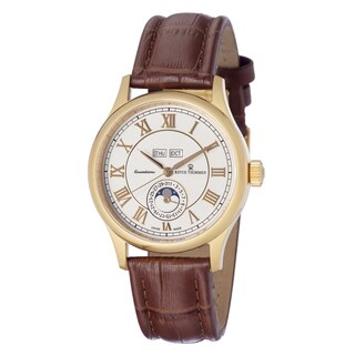 Revue Thommen Men's 16066.2512 'Moonphase' Silver Dial Day Date Brown Leather Strap Watch