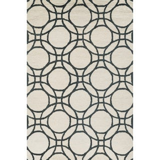 Hand-hooked Meadow Ivory/ Black Wool Rug (7'10 x 11'0)