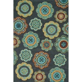 Hand-hooked Meadow Midnight/ Teal Multi Wool Rug (7'10 x 11'0)