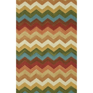 Hand-hooked Meadow Sunset Chevron Wool Rug (7'10 x 11'0)