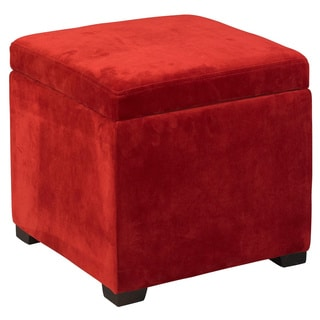 Linon Red Judith Ottoman With Jewelry Storage