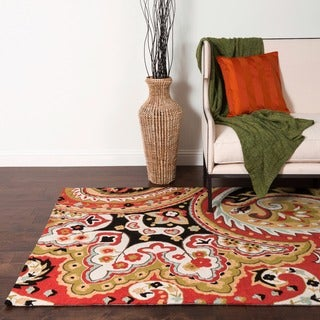 Hand-hooked Charlotte Red/ Black Paisley Rug (3'6 x 5'6)