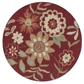 Hand-hooked Charlotte Red Floral Round Rug (3'0 x 3'0)