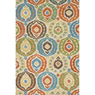 Hand-hooked Meadow Ivory/ Multi Wool Rug (7'10 x 11'0)
