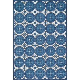 Hand-hooked Meadow Ivory/ Blue Wool Rug (3'6 x 5'6)