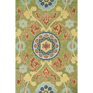 Hand-hooked Meadow Lime/ Multi Wool Rug (7'10 x 11'0)