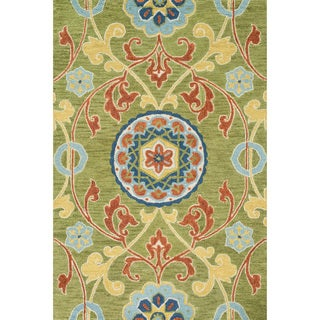 Hand-hooked Meadow Lime/ Multi Wool Rug (5'0 x 7'6)