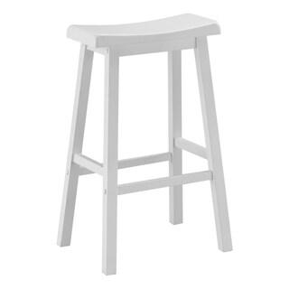 White 29-inch Saddle Seat Barstools (Set of 2)