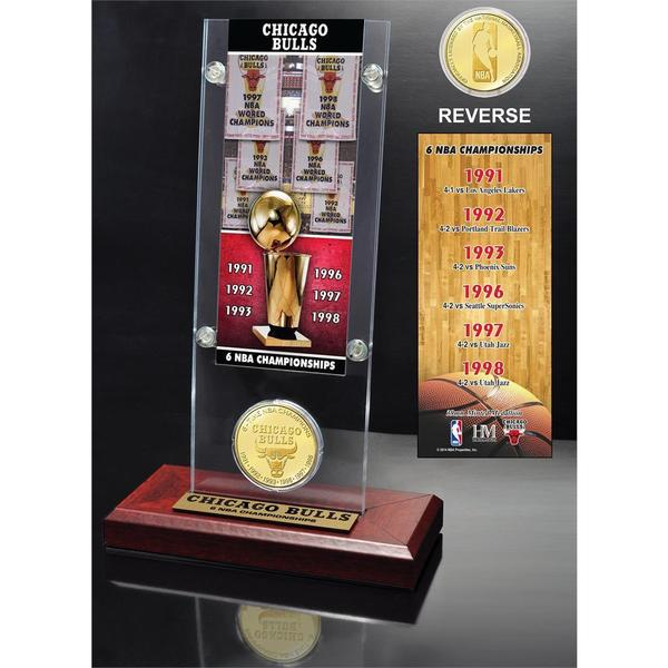 NBA Chicago Bulls 6-time NBA Champions Ticket and Bronze Coin Acrylic Desk Top 14334542