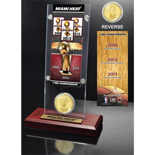 NBA Miami Heat 3-time NBA Champions Ticket and Bronze Coin Acrylic Desk Top 14334548