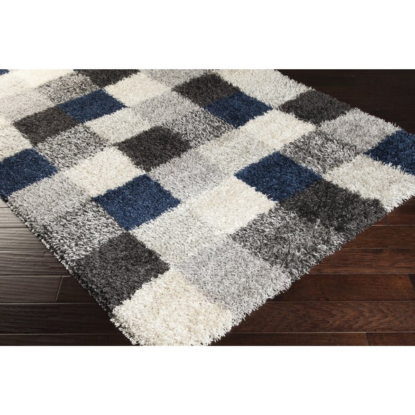 Meticulously Woven Cary Checked Shag Rug (2' x 3')