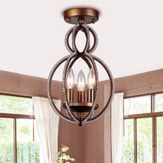 Seraphina 3-light Antique Bronze 15-inch Flush Mount