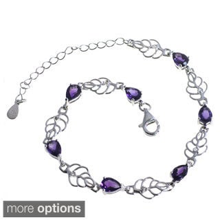 De Buman Sterling Silver Natural Garnet, Amethyst, Peridot or Multi-colored Gemstones with White Topaz Bracelet