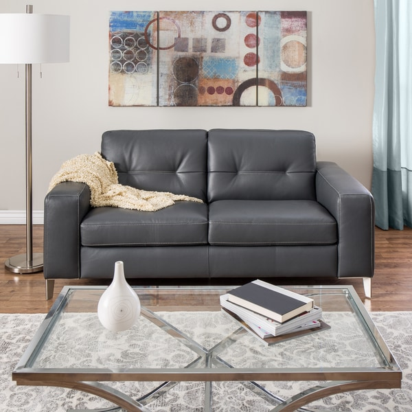 Natuzzi Savona Grey Italian Leather Loveseat
