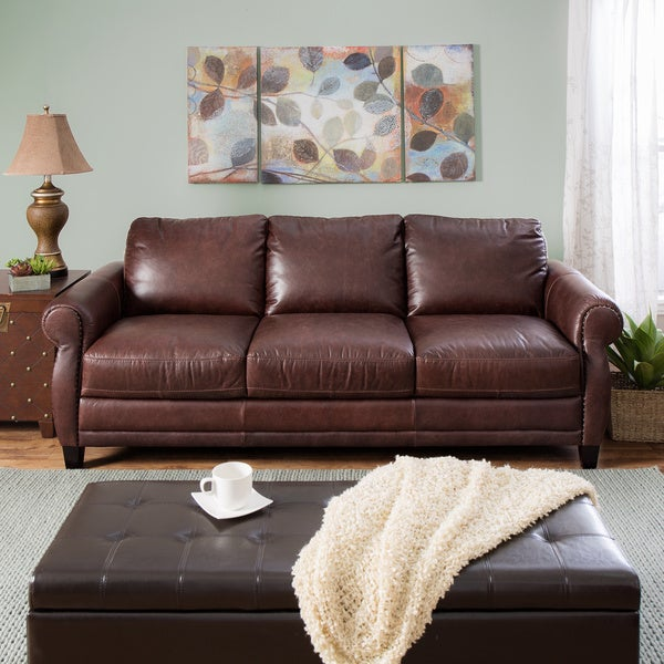 Natuzzi Foligno Brown Italian Leather Sofa Bed