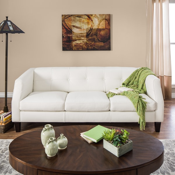Natuzzi Vittoria Off-white Italian Leather Sofa