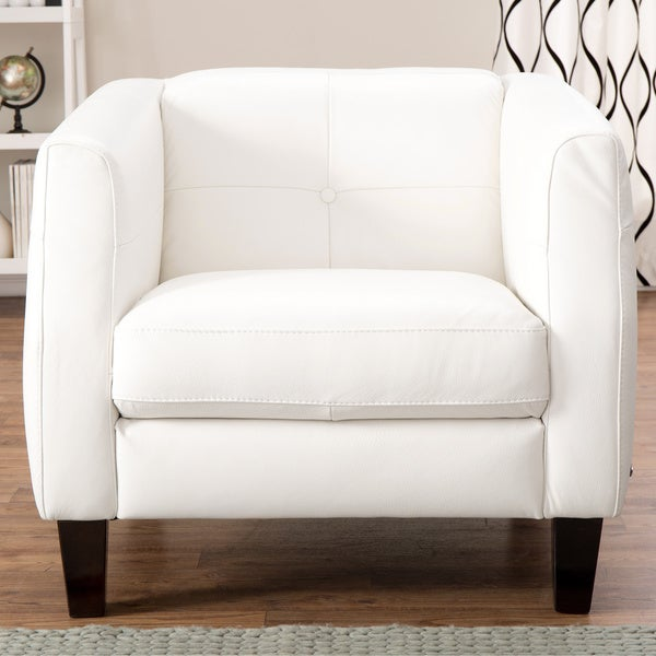 Natuzzi Potenza Off-white Italian Leather Armchair