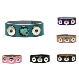 Bleek2sheek Snap-a-doo Collection 5-snap Base Leather Cuff Noosa Bracelet