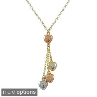 Gold Finish Tri-color Puffy Hearts Lariat Necklace