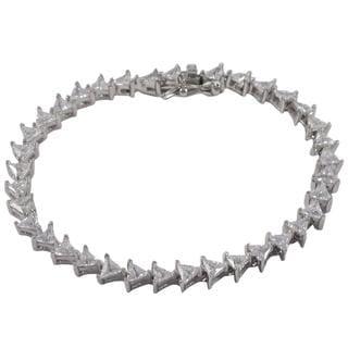Sterling Silver Triangle Cubic Zirconia Arrowhead Link Tennis Bracelet