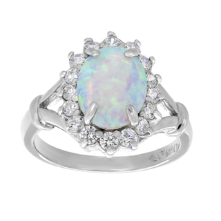 Sterling Essentials Silver Cubic Zirconia and Simulated Opal Cocktail Ring