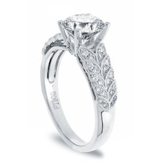 14k White Gold 1 1/3ct TDW Vintage Design Round Diamond Ring (G-H, SI1-SI2)