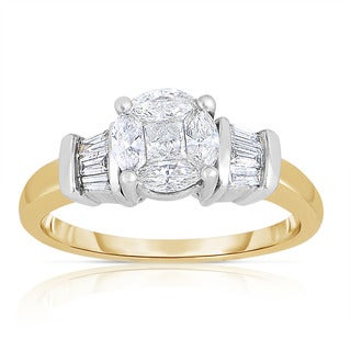 Eloquence 14k Yellow and White Gold 1ct TDW One-Of-a-Kind Diamond Ring (H-I, I1-I2)