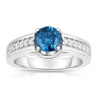 Eloquence 14k White Gold 1 1/3ct TDW Blue Solitaire Diamond Engagement Ring (Blue, I1-I2)