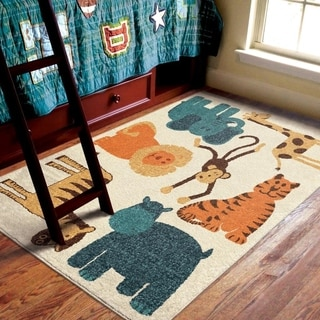 Innocence Collection My room is a Zoo Beige Olefin Area Rug (4'x6')
