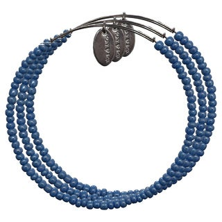 Pink Box 3-piece Adjustable Bead Bangle Bracelet in Teal Blue