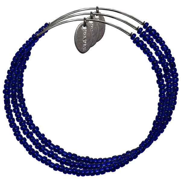 Pink Box 3-piece Adjustable Bead Bangle Bracelet in Navy Blue