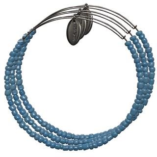 Pink Box 3-piece Adjustable Bead Bangle Bracelet in Shiny Teal Blue
