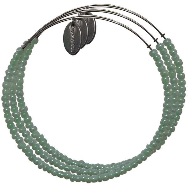 Pink Box Baby Green Beads 3-piece Adjustable Bangle Bracelet Set