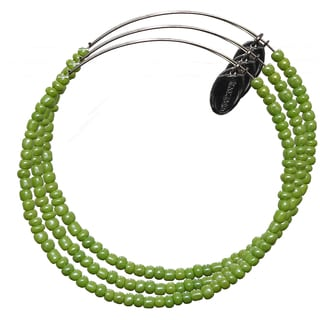 Pink Box 3-piece Adjustable Bead Bangle Bracelet in Kelly Green
