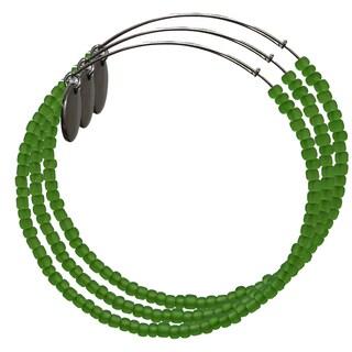 Pink Box 3-piece Adjustable Bead Bangle Bracelet in Iced Sap Green