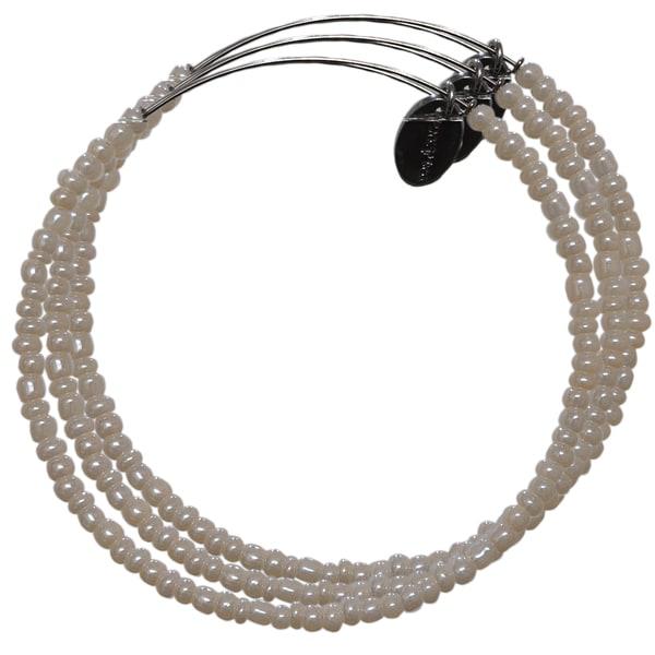 Pink Box Baby Peach Cream Beads 3-piece Adjustable Bangle Bracelet Set