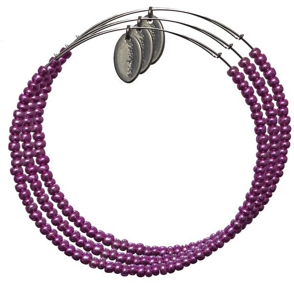Pink Box 3-piece Adjustable Bead Bangle Bracelet in Metallic Hot Pink