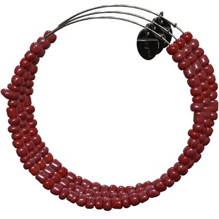 Pink Box 3-piece Adjustable Bead Bangle Bracelet in Burnt Umber