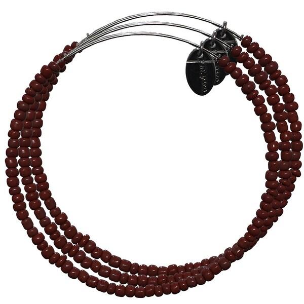 Pink Box 3-piece Adjustable Bead Bangle Bracelet in Dark Sienna
